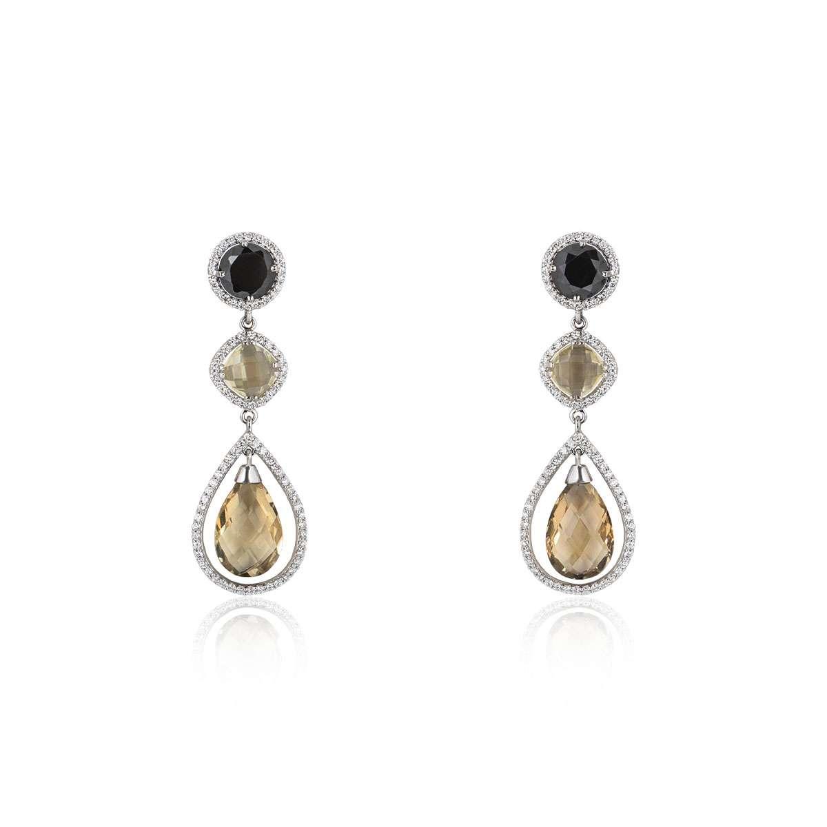 White Gold Diamond and Quartz Earrings